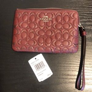Coach Wristlet- Wine with Sparkles